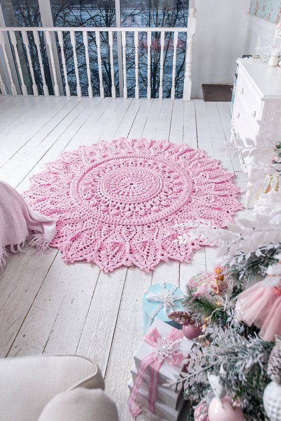 Big crochet pink rug, round area rug (71 in), doily rug, yarn lace mat, cottage nursery carpet, rustic floor decor by LaceMats LaceAster, with volume elements It complements any interior, from the loft to the cottage. This crochet giant willnt remain without attention of your visitors and households. That gift will appreciate all   Hypoallergenic, it can be used with children  Size - 71 inches  Washed in the machine at 30 °C without fabric softener It dries very quickly in the expanded form…