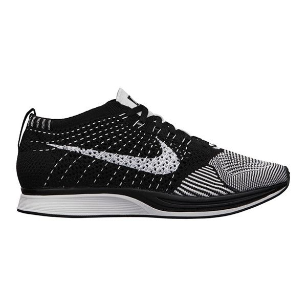 Nike Flyknit Racer Black White ❤ liked on Polyvore featuring shoes, nike shoes, black white shoes, black and white shoes, dog shoes and dog footwear