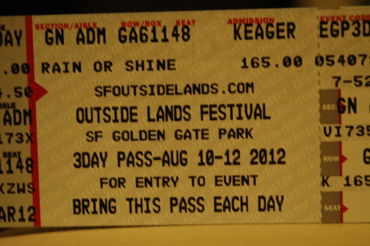 Outside Lands tickets in the mail; just wish August came a little sooner!