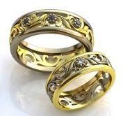 Изящные обручальные кольца с самоцветами из комбинированного золота на заказ с резным узором