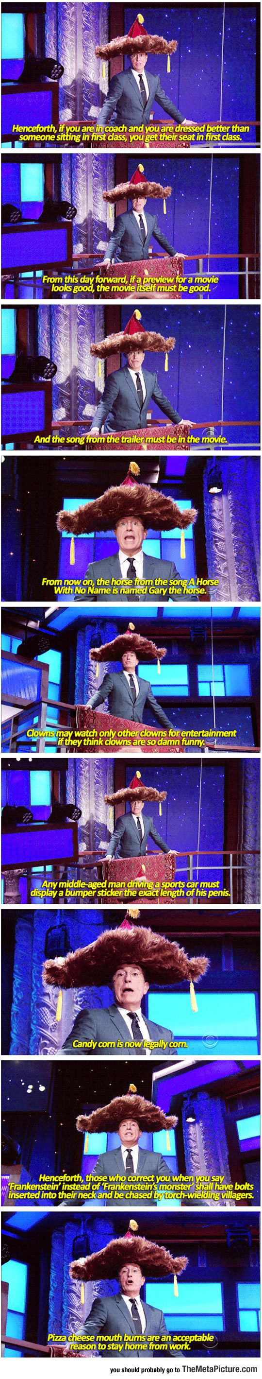 Stephen Colbert Issues New Proclamations