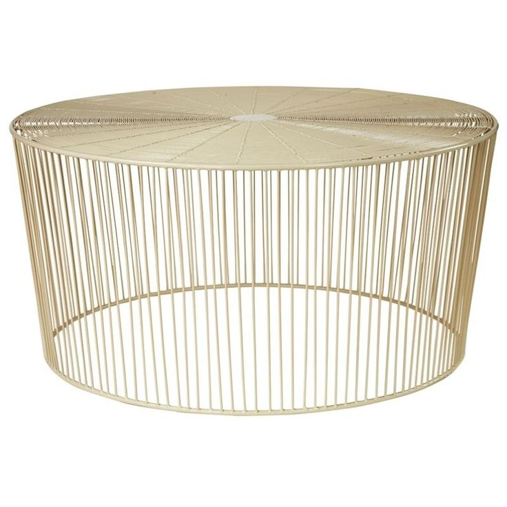 Iron Wire Drum Stool Vanilla Cream Beige Ivory Side Coffee Table Outdoor Living