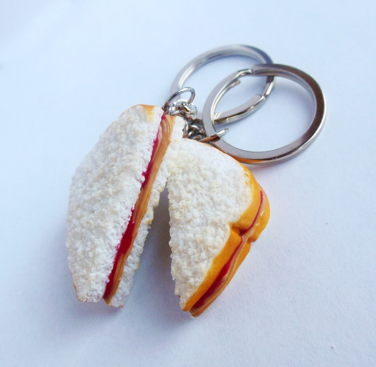 peanut butter and jelly best friend key chains bff pb and j polymer clay strawberry jam sandwich halves. $19.00, via Etsy.
