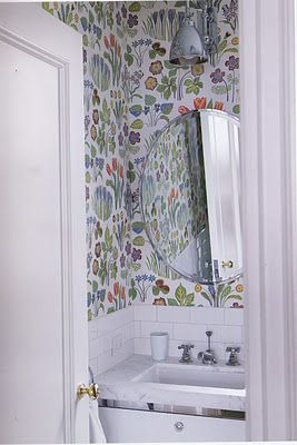 I love wallpaper....especially in a bathroom. Wondering who makes this?