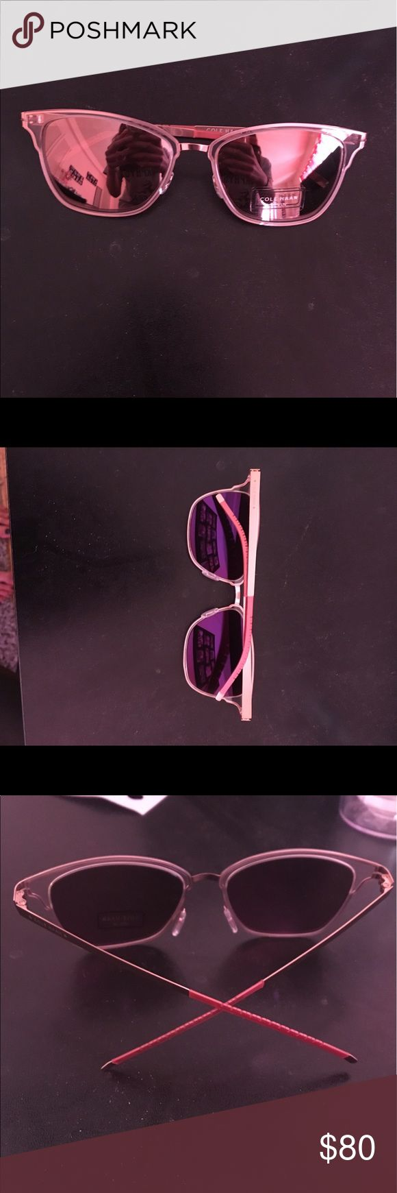 Cole Haan StudioGrand Women's Mirrored Sunglasses Never worn Cole Haan StudioGrqnd women's sunglasses. Style CH7028 color blush with mirrored lenses and flexible temples. Pink deigns on ends of temples and comes with blue Cole Haan case. Cole Haan Accessories Sunglasses