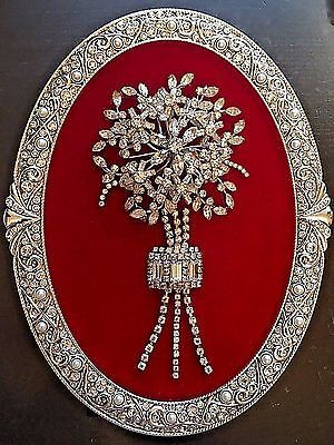VINTAGE JEWELRY FRAMED ART, NOT CHRISTMAS TREE, FLOWER BOUQUET WITH SWAROVSKI  | Jewelry & Watches, Vintage & Antique Jewelry, Costume | eBay!