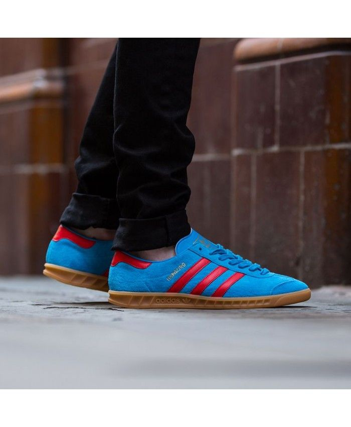 a7e6cd3e796f Adidas Originals Hamburg Navy Red Trainers Sale UK