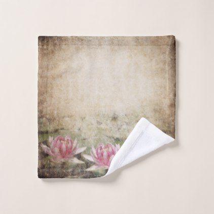 Pink Lotus Grunge Wash Cloth - flowers floral flower design unique style