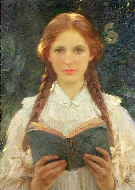 Girl with Pigtails, Sir Samuel Henry William Llewelyn, notable English painter (1858-1941). Makes me think of Anne Shirley.