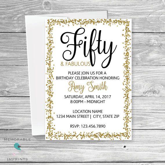 50th Birthday Invitation - Gold Black and White Birthday Invitation - Classy Birthday Invitation - Birthday Invitation - Printable Invitations by Memorable Imprints
