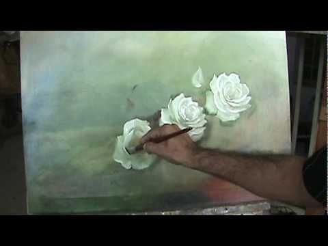 Pintando um quadro de rosas parte 2 - YouTube