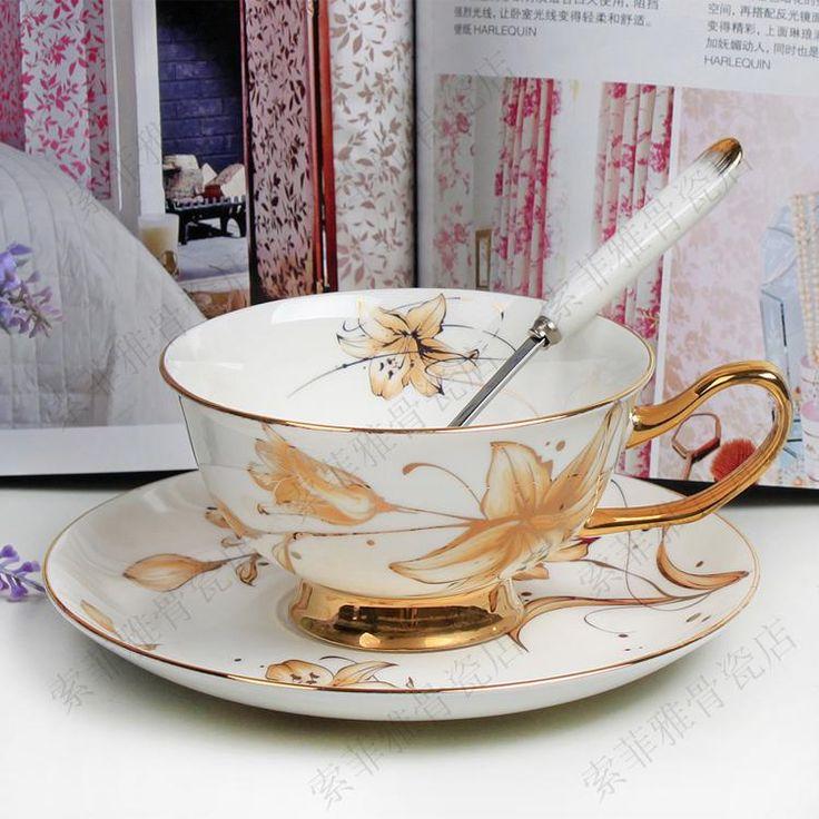 Золото лилия цветок 24 k золото англетер черный чай комплект костяной фарфор кофе чаша и тарелка комплект