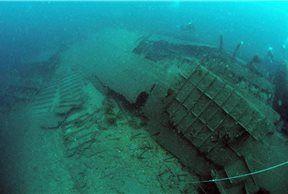 Restos sumergidos del 'SS Gallia'