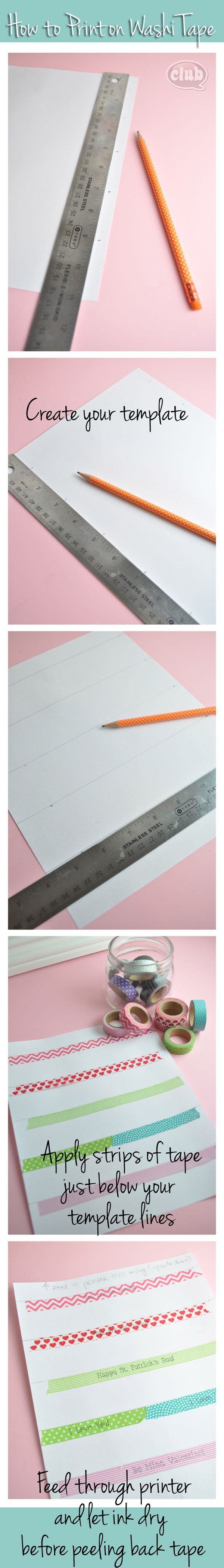 It's easier than you think to print on Japanese Washi Tape. Great DIY & craft ideas @clubchicacircle