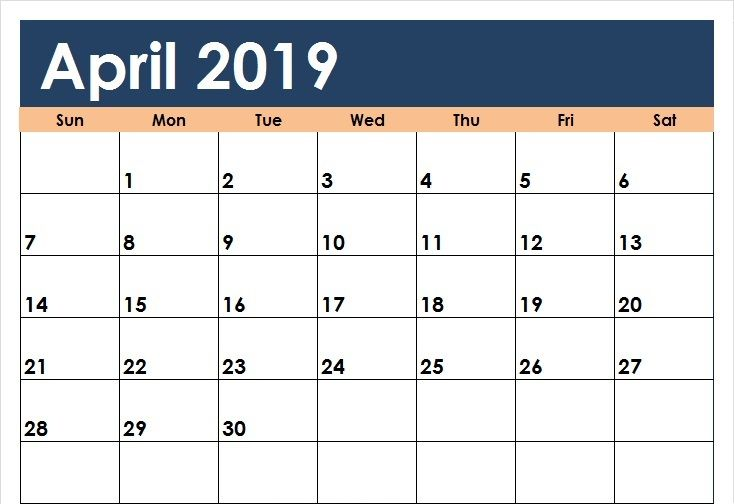 April 2019 Calendar In Pdf Word Excel Printable Template