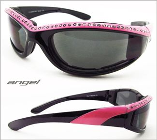 Rhinestone Pink Frame Motorcycle Sunglasses for women by Bikershades are the perfect riding glasses for women. Angel rhinestone sunglasses a...