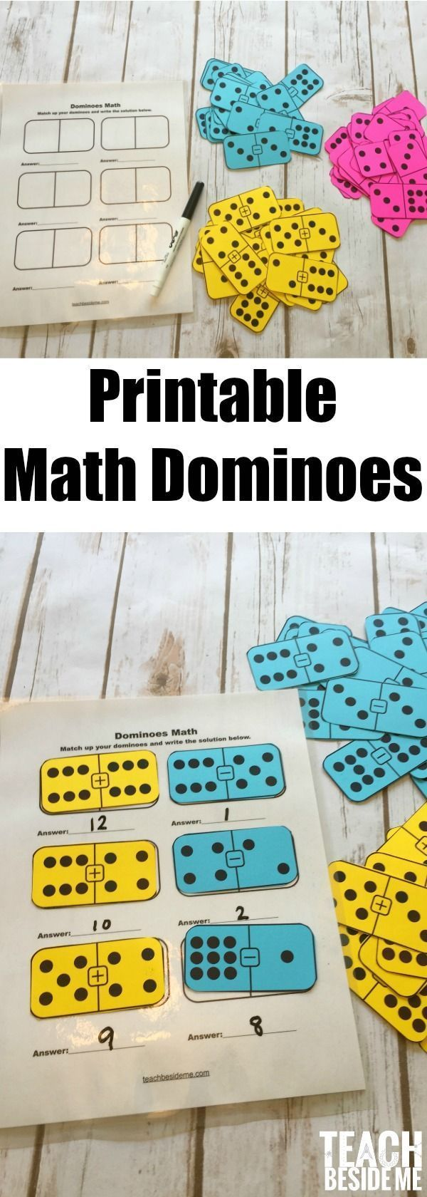 Printable Math Dominoes for addition, subtraction or multiplication. Fun math game or for math centers. Includes three different domino sets. via @karyntripp #mathgames