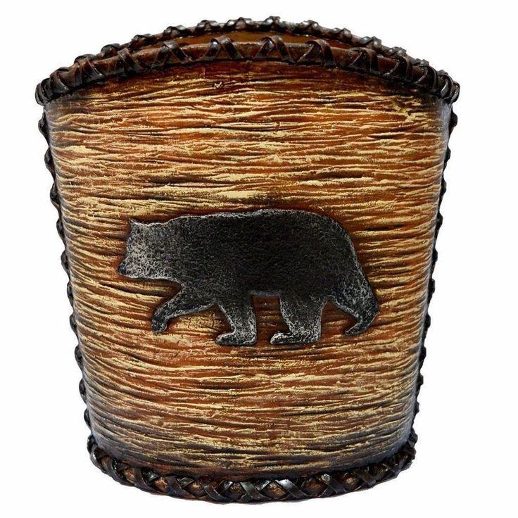 Accents Rustic Bear Decorative Waste Basket Unique Home Decor #wastebasket