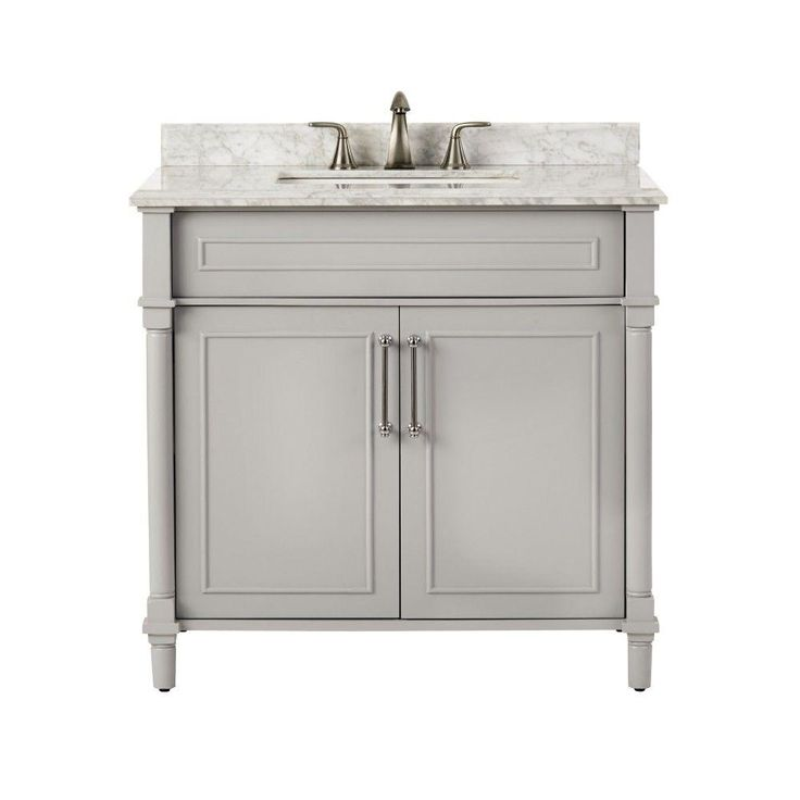 Home Decorators Collection Aberdeen 36 in. W x 22 in. D Single Vanity in Dove Grey with Marble Vanity Top in White with White Basin