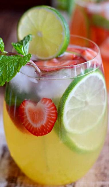 Mango Strawberry Sangria! Look at the fresh strawberries!