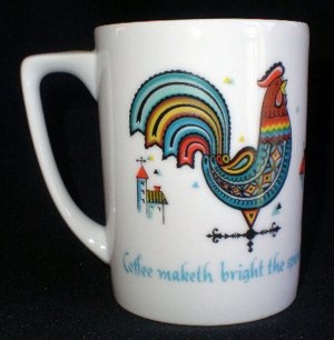 Berggren Mug Cup Folk Art Rooster Weather Vane Buildings