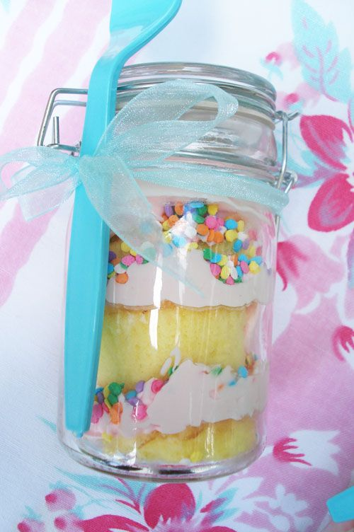 cupcakes in a jar!  don't have to worry about them getting smooshed!