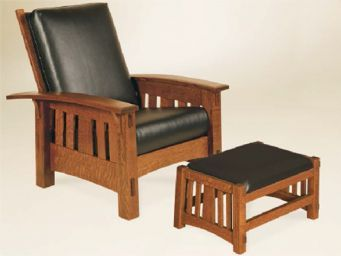 AJs Furniture | McCoy Morris Chair & Ottoman $1100 per chair and $320 footstool in fabric/maple or $1230 and $350 in leather/oak