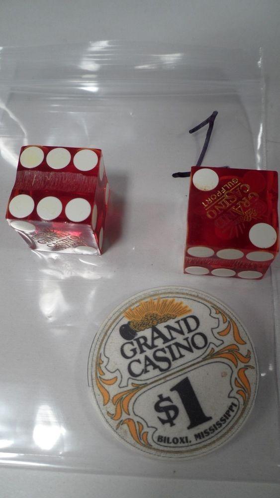 Vintage 1980s Grand Casino Biloxi Mississippi $1 Chip Token & Gulfport Red Dice