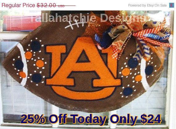 25% Off TODAY Auburn Tigers Burlap Football Door Hanger*College Football* Team Burlap Football Fall Burlap Door Hanger