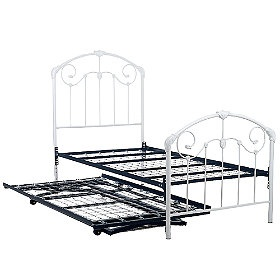 white rod iron trundle bed for Kate's room