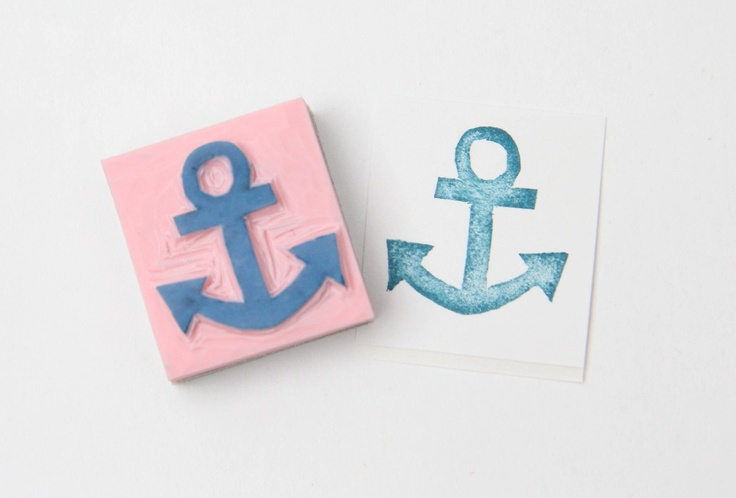Summer Ship Anchor Hand Carved Stamp for Acrylic Blocks. via Etsy.