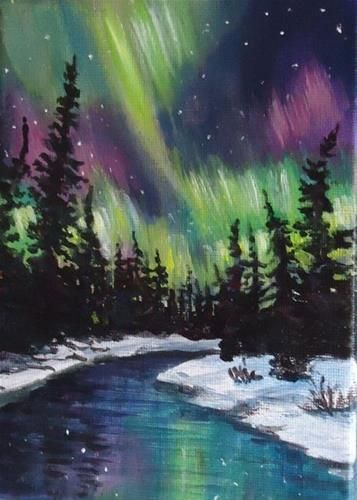 "Daily Paintworks - ""Northern Lights Yukon"" - Original Fine Art for Sale - © Jackie Irvine"