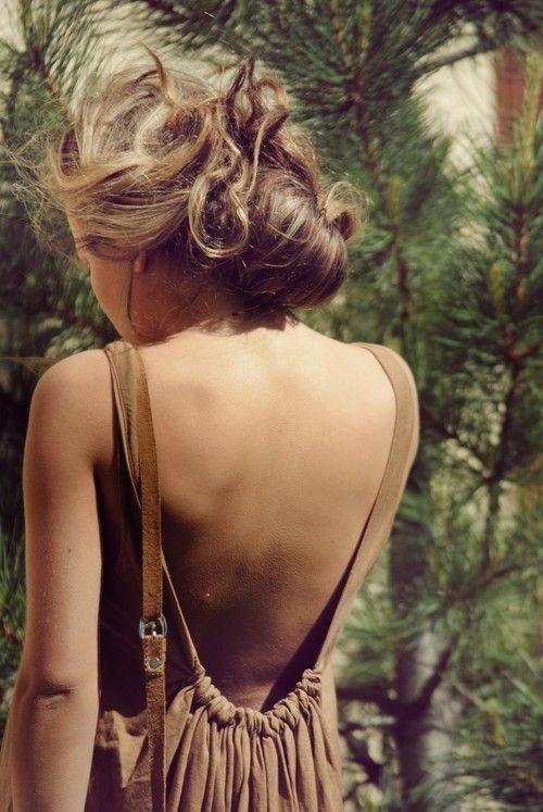 love: Summer Dresses, Hair Colors, Messy Hair, Backless Dresses, Low Back Dresses, Summer Hair, Messy Buns, Open Back, Back Details