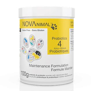 Pet Probiotics in natural plum-flavored powder. 4 Billion CFU per scoop.