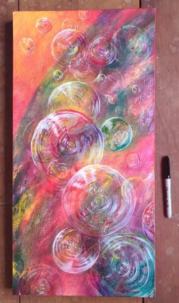 Bubbles in Red, Large Version, Abstract painting