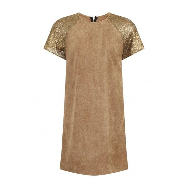 Camel Sequin Shift Dress (2.130 RUB) ❤ liked on Polyvore featuring dresses, sequin dresses, camel dress, beige dress, shift dress and sequin embellished dress