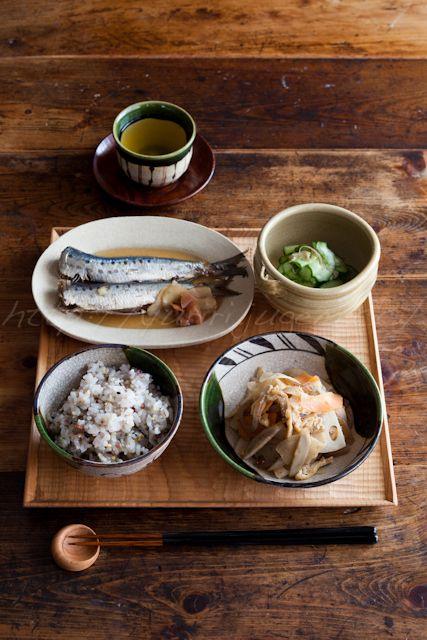 20130423鰯の梅煮と根菜のキンピラの定食.jpg