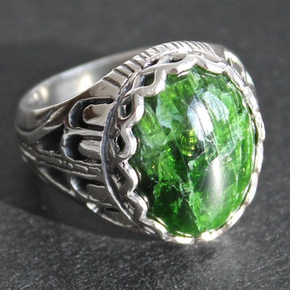 Sterling Silver Ring for Men with Chrome by KaraJewelsTurkey, $95.00