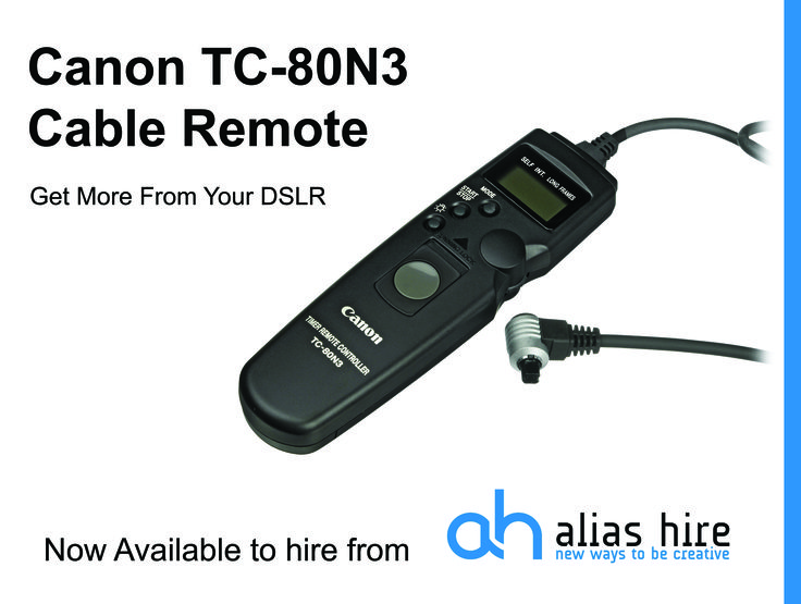 Canon TC-80N3 Cable remote intervalometer available to hire form Alias Hire www.aliashire.co.uk