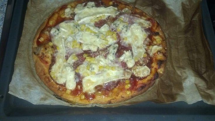 Pizza se vším všudy..camembert+šunka+kukurica+niva