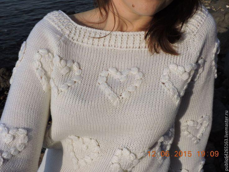 """Купить вязаная кофта """"Сердце"""" - белый, вязаный джемпер, вязаная кофта, вязаный свитер, реглан"""