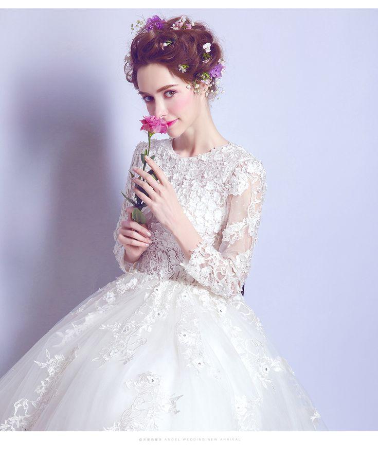 Fabulous Aliexpress Buy SSYFashion Wedding Dress White Luxury Lace Flower Princess Bride Long sleeved Fat WomenOfficial