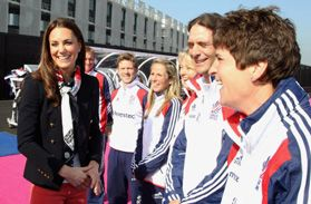 The Duchess of Cambridge visits the Team GB's men's hockey team