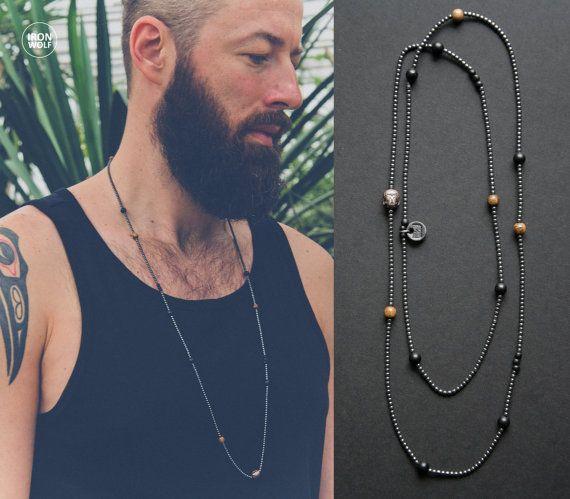 Hematite + Onyx + Horn + Wood necklace / hematite Buddha bead / gunmetal and black men's necklace / hematite necklace