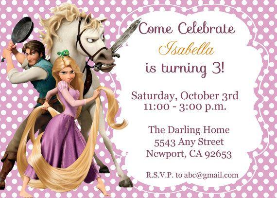 Tangled Rapunzel Invitation Disney Princess by StarPartyPrintables, | Cards, borders, frames ...