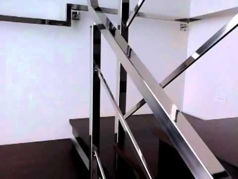 GMAK - corrimão em aço inox tubo quadrado polido brilhante com guarda corpo