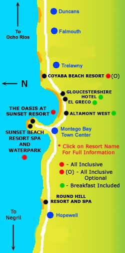 Best Montego Bay Jamaica December Images On Pinterest - Sunset beach resort jamaica map