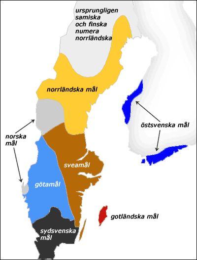 SWEDISH DIALECTS |  Norrländska mål,  Sveamål,  Gotländska mål or Gutamål,  Östsvenska mål,  Götamål,  Sydsvenska mål,  (Gnällbältet?).