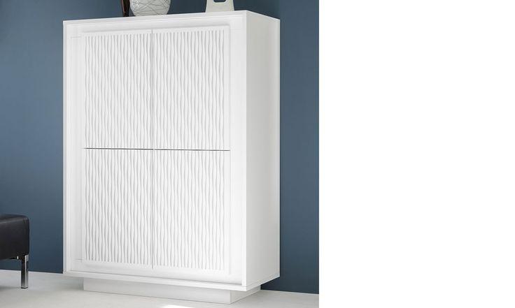 Buffet haut blanc laqué mat design AURORA