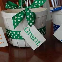 CUTE Easter basket idea! Need to remember cute ribbon and name tags for both boys this year.